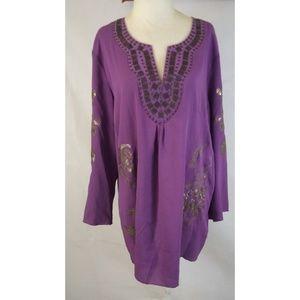 FESTIVAL Sequined Boho Purple Tunic Mini Dress XL